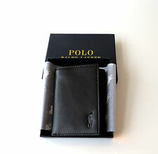 Polo Ralph Lauren Mens Trifold Leather Wallet Black