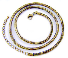 Necklace Chain Snake Antique Brass Plate Adjustable 19 20 21 Inch, 3mm Thick