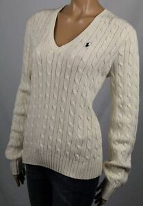 Ralph Lauren Cream Cable Knit V-Neck Sweater Navy Pony NWT