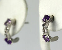 Diamond Accent Sterling Silver Oval Cut Amethyst J Hoop Earrings