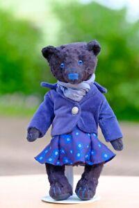 Artist Teddy Bear Art Doll ,OOAK Black Bear Girl in Dress 9inch