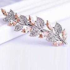 BARRETTE use Swarovski Crystal Hair Clip Hairpin Jeweled Elegant Leaf Brown C04