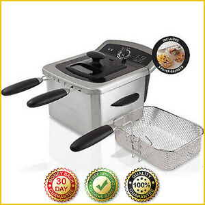 ELECTRIC DEEP FRYER COOKER Home Countertop Dual Basket Fries Stainless Steel 4L