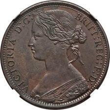 Great Britain 1873 Victoria Bronze Penny NGC MS-63 BN
