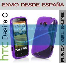 FUNDA GEL TPU MORADA HTC DESIRE C MODELO S LINE EN ESPAÑA CARCASA