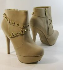 "NUDE /gold stud 5.5""high  heel 1.5"" platform  ankle boot  round toe .Size   8.5"