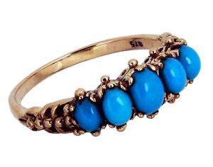 R128 Solid 9K 9ct Rose Gold NATURAL Turquoise Vintage 5-Stone Bridge Ring size M