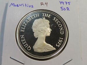R4 British Africa Mauritius 1975 Silver 50 Rupees Proof