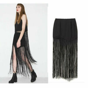 CelebStyle classy to edgy Fringe Skirt