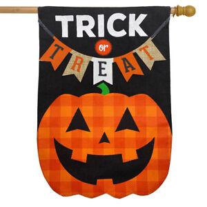 "Trick Or Treat Pumpkin Burlap Halloween House Flag 28"" x 40"" Briarwood Lane"