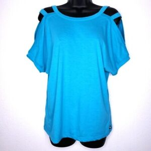 Fabletics Cold Shoulder T Shirt Strappy Tee Womens Medium Turquoise Blue Green