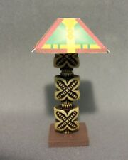 Dollhouse Miniature 1:12 Table Lamp #5 (SquareRed/Yellow Lamp Shade)