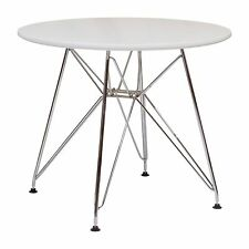 "Eames Style White Coffee Table MidCentury Modern NEW 24"" Metal Legs Eiffel Base"