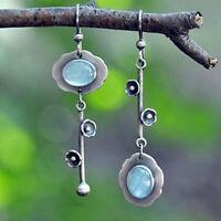 Vintage Moonstone 925 Silver Ear Hook Drop Dangle Earrings Women Party Jewelry