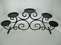 LARGE WROUGHT IRON 5 TIER PILLAR CANDLE HOLDER SCROLL DESIGN