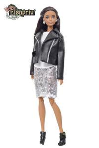 ELENPRIV FA outfit#14 silver sequined skirt+biker jacket+t-shirt for Barbie doll