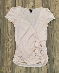 Ralph Lauren Rugby Women's Light Pink Ruffle Top Shirt Silk Blouse V-Neck L