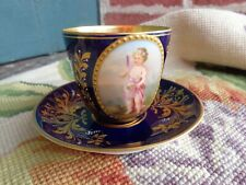 ANTIQUE PAINTED CHERUB ROYAL VIENNA BEEHIVE CABINET DEMITASSE COBALT CUP SAUCER