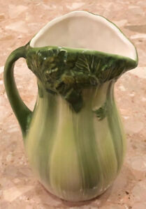 "Phaltzgraff Vintage Green Majolica Celery 10"" Pitcher Summer Kitchen Decor"