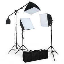 3x lampes softbox continue studio photo kit d'éclairage lumière flash + trépieds
