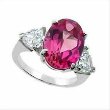 925 Silver Lab Created Pink Sapphire & CZ Three Stone Ring Size 8