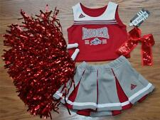CHEERLEADER OUTFIT COSTUME HALLOWEEN RIDER UNIVERSITY COWGIRL 2T 2 POM POMS BOW