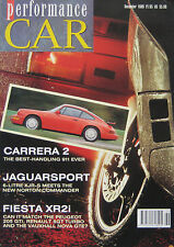 Performance CAR 12/1989 featuring Jaguar XJR-S, Renault 5GT, Peugeot, Norton,BMW