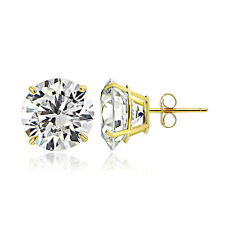 14K Yellow Gold 1.50 CTTW Cubic Zirconia Round Stud Earring, 6mm