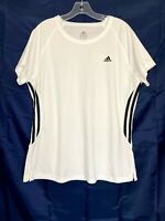 Adidas Active 360 Womens Short Sleeve Shirt White Stretch Active Top Size XL