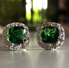 2 Ct Cushion Green Emerald Push Back Stud Small Earrings 18K White Gold Plated