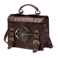 Outdoor Schultertasche Steampunk Bag, Vintage Leder Umhängetasche Handtasche