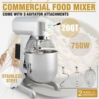 Commercial 1.0 HP 20 Quart Food Mixer Gear Driven Dough Flour Paste Three Speed