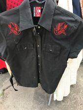 LIQUOR BRAND bowling shirt black w red swallows rockabilly punk  alternativeAU12