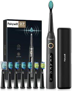 Fairywill D7 eléctrico cepillo de dientes sónico Negro Portátil Estuche de viaje