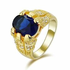 Fashion Size12 Luxury Blue Topaz 18K Gold Filled Rare Anniversary Rings For Mens