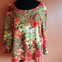 Chico's 100% cotton floral embellished 3/4 sleeve knit top size 3/XL