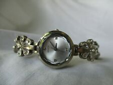 Guess Watch Water Resist Silver Toned Sparkling Crystal Flowers Elegant WORKING!