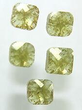 5Pcs/2.37Cts Natural Cushion Shape Yellow Color Rose Cut Diamond Lot 4.14-4.42MM