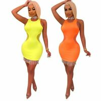 New Women Solid Color Scoop Neck Sleeveless Tassels Patchwork Bodycon Club Dress