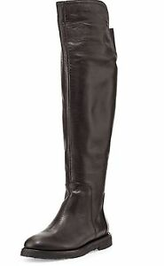 VINCE COLETON OVER THE KNEE BOOTS OTK BLACK LEATHER RUBBER SOLD OUT SZ 6 NEW