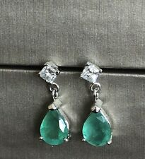 Platinum Solitaire Diamond Emerald Drop Earrings Teardrop Cushion Dangle