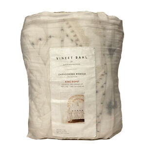 ANTHROPOLOGIE x VINEET BAHL Embroidered Romula King Duvet Cover White -MSRP $298