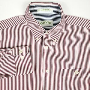 Orvis Red White Striped Men's Long Sleeve Button Up Shirt Size Large Cotton