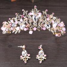 Pink Gold Pearl Bridal Crowns Handmade Tiara Bride Headband Crystal Wedding F6L5