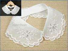 False White Peter Pan Collar Faux Chiffon Decorative Detachable Removable Lapel