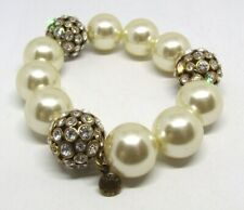 "6"" J Crew Chunky Faux Pearl/White Rhinestone Crystal Disco Ball Stretch Bracelet"