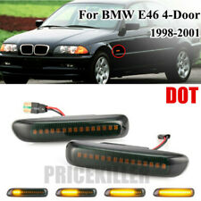 Pair Dynamic LED Side Marker Turn Signal Light For BMW 3er E46 1998-2001 Smoke