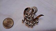 crown trifari vtg art deco styled brooch silver tone dangling beads all metal