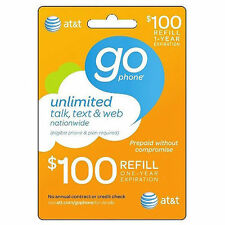 AT&T GO PHONE $100 Refill for prepaid phones