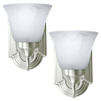 2 Pack of Brushed Nickel Wall Sconce Single Light Fixture Interior Lighting